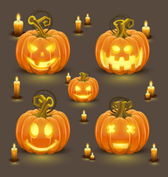 Pumpkin set with smile vector