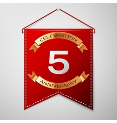Red pennant with inscription five years vector