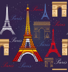 Seamless pattern with eiffel tower and triumphal vector
