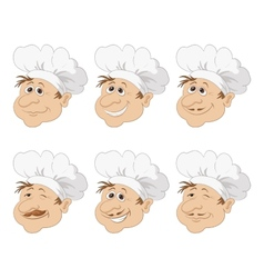Set cartoon heads chef in a toque caps vector image vector image