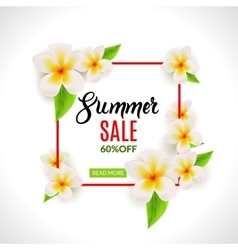 Summer Sale promotional poster with flowers vector image