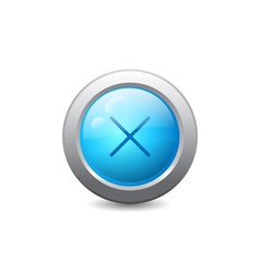 Web button with cross mark vector image vector image