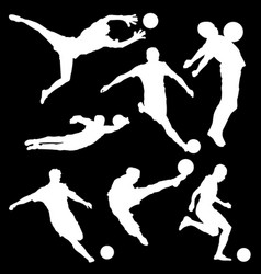 White silhouette of football player on black vector