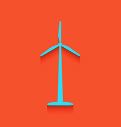Wind turbine logo or sign whitish icon on vector