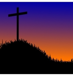 Wooden cross on a hill the sunset background vector