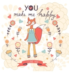 You make me happy romantic card with cute vector
