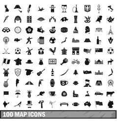 100 map icons set simple style vector