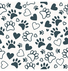Seamless pattern with paw and heart prints Animal vector image