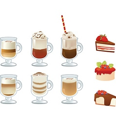 Set of coffee drinks and cakes vector