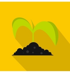 Green seedling in soil icon flat style vector