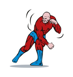 Cartoon super hero running punching vector