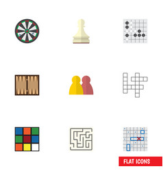 Flat icon games set of people guess sea fight vector