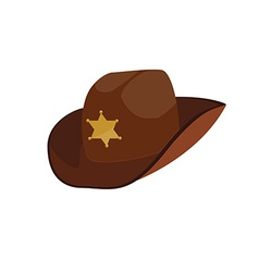 Brown sheriff hat vector