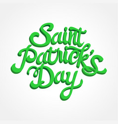3d effect text of saint patricks day on white vector image vector image