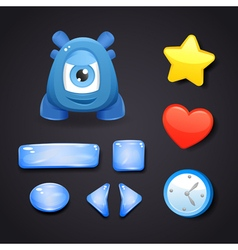 Interface icons for game design with blue monster vector