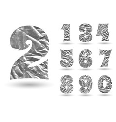 Set of numbers made foil vector