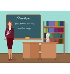 School literature female teacher in audience class vector