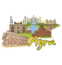 agra doodles vector image