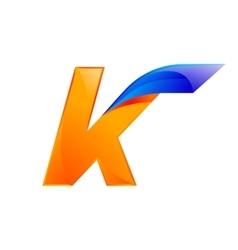 K letter blue and orange logo design fast speed vector