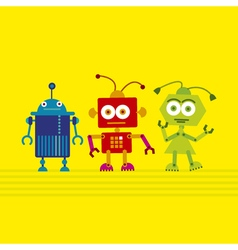 Colorful cute robot set on yellow background vector