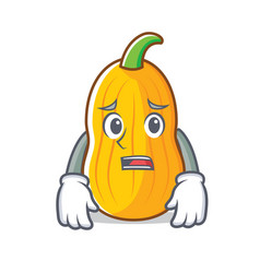 Afraid butternut squash mascot cartoon vector