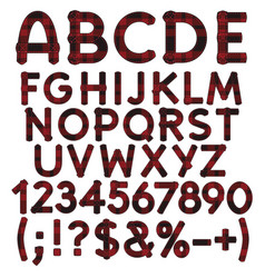 alphabet letters numbers and signs from tartan vector image vector image
