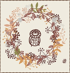 Autumn design with owl vector image vector image