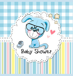 baby shower greeting card with puppy vector image vector image
