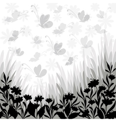 Background flowers and butterflies silhouettes vector