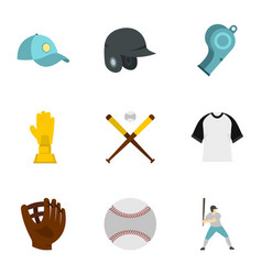 Baseball goods icons set flat style vector