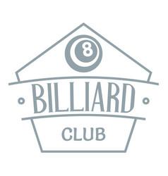 billiard logo simple gray style vector image vector image