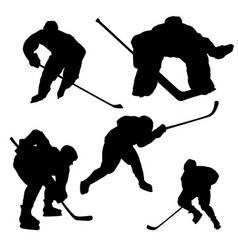 Black hockey player silhouette on white background vector