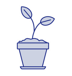 Blue silhouette of plant in flower pot in closeup vector