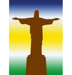 Brazil statue of jesus vector