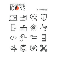 bundle of thin line technology icons software vector image