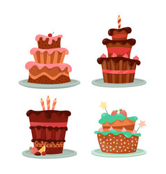 Cakes with strawberry and cherry candle and stars vector