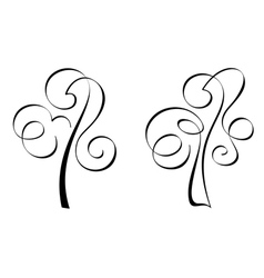 Calligraphic trees vector image