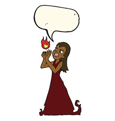 cartoon witch woman casting spell with speech vector image