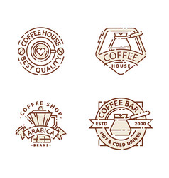 Coffee badge food thin line lettering for vector