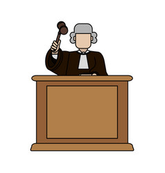 color graphic faceless judge in law courts with vector image vector image