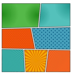 Comic book backgrounds in different colors vector