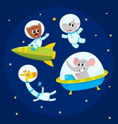 cute animal astronauts spacemen - elephant vector image