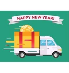 Delivery transport truck van christmas gift vector
