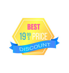 discount with best price promotional gold sticker vector image