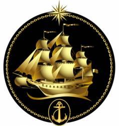 gold sailing ship vector image