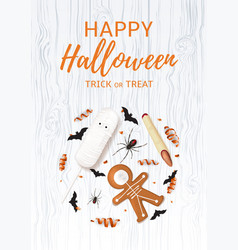 halloween festive poster with treats vector image vector image
