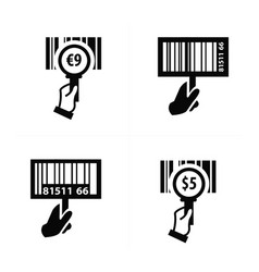 Hand and zoom barcode icon vector