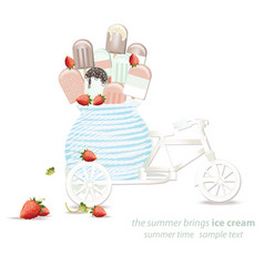 Ice cream in a decoration bycicle toy vector