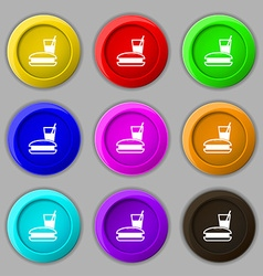 Lunch box icon sign symbol on nine round colourful vector