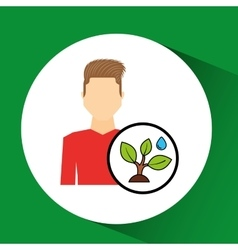 Man symbol environment eco tree water icon design vector